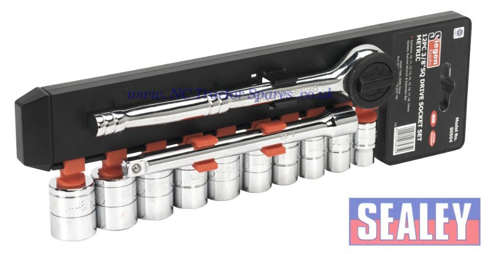 "Socket Set 12pc 3/8""Sq Drive 6pt WallDrive Metric"
